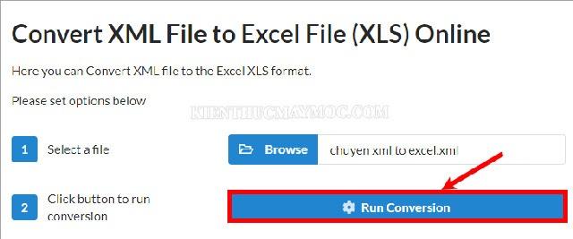 Chọn Run Conversion để bắt đầu tiến hành chuyển đuôi XML sang Excel