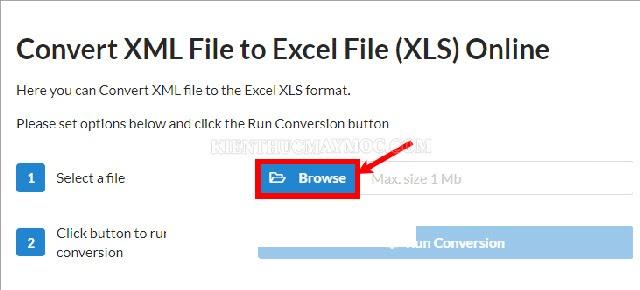 Chọn Browse để tải file XML cần chuyển đổi sang Excel