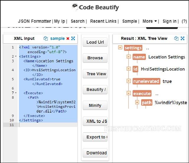 Mở file XML bằng phần mềm trực tuyến codebeautify