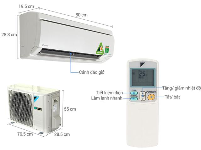 Đặc điểm cấu tạo của điều hòa Daikin Inverter 1.5HP FTHF35RVMV